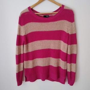 A.N.A Wide Striped Mesh Pink and Tan Shirt